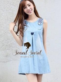 Seoul Secret Blue Rabbit Denim Dress