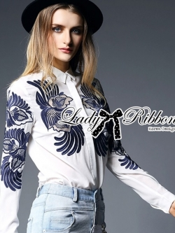 Lady Ribbon Elie Birdy Embroidered Minimal Shirt