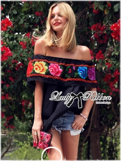 Lady Ribbon Cross-Stitched Rose Pattern Off-Shoulder Top