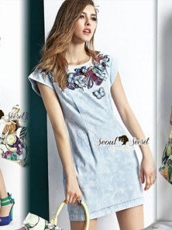 Seoul Secret Butterfly Stick Denim Dress