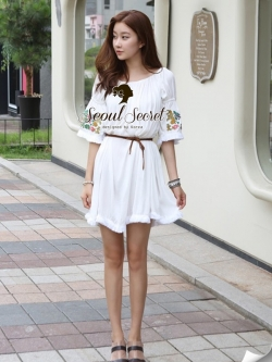 Seoul Secret Nifty Bohe Embroider Ivory Dress