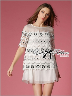 Lady Ribbon Embroidered Lace and Silk Cotton Dress