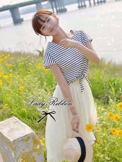 Lady Ribbon ชุดเซ็ทเสื้อสไตล์กะลาสี มินิเดรสกระโปรงพลีท สีครีม