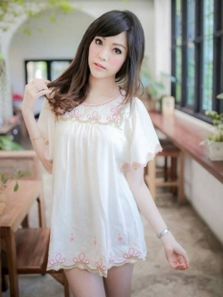 Icevanilla Lovely Pastel Embroidery Blouse