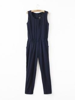LILY จั๊มสูท ผ้าชีฟองสีพื้น จับพลีท ไซส์ S,M,L สีน้ำเงิน