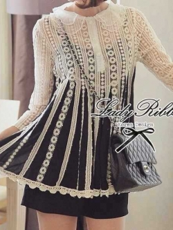 Lady Ribbon See Through Long-sleeve Blouse ดีเทลปกผ้าแก้ว