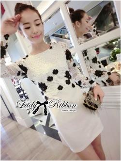 Lady Ribbon Elegant Monochrome Embroidered Lace Dress