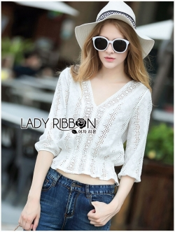 Lady Ribbon เสื้อผ้าคอตตอนสีขาว