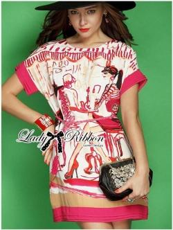 Lady Ribbon Pink Illustrated Printed Mini Dress with Belt