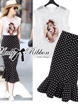 Lady Ribbon ชุดเซ็ตเสื้อลูกไม้พิมพ์ลาย กระโปรงทรงเมอร์เมด