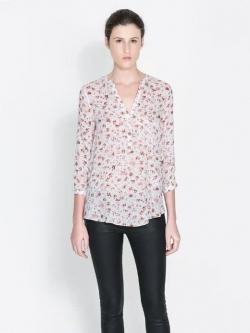ZARA เสื้อ ผ้าพิมพ์ลายดอก