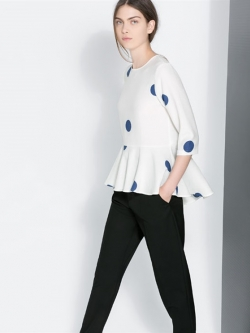 FX Woman เสื้อสีขาว ผ้าชีฟองเนื้อทราย พิมพ์ลายจุด