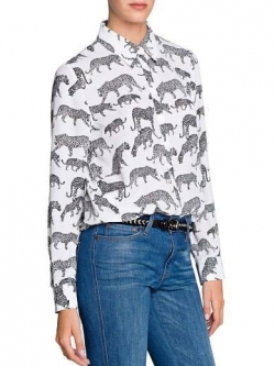 MNG เสื้อเชิ้ตแขนยาว ผ้าชีฟอง พิมพ์ลายเสือดาว S,M,L