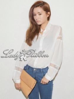 Lady Ribbon Sassy Shirt เสื้อเชิ้ตแขนยาว ตัดต่อผ้าตาข่าย ซีทรู สีขาว+สีดำ