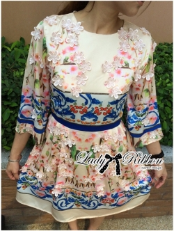 Lady Ribbon Floral Embroidered Dress
