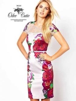 ASOS Printing Flower Dress เดรสพิมพ์ลายดอกไม้ แต่งผ้าซีทรู