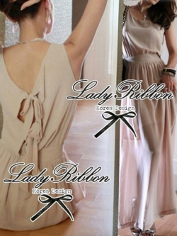 Lady Ribbon Maxi Dress เดรสผ้าชีฟอง ด้านหลังประดับโบว์