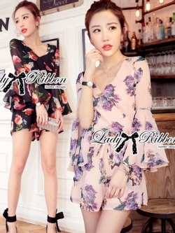 Lady Ribbon Spring Floral Printed Jumpsuit