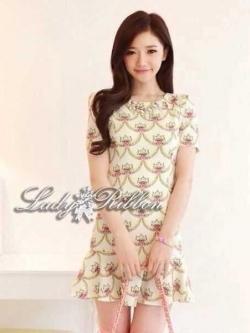 Lady Ribbon Mini Dress เดรสพิมพ์ลาย แต่งระบายชายกระโปรง
