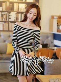 Lady Ribbon Mixed Striped Easy Dress