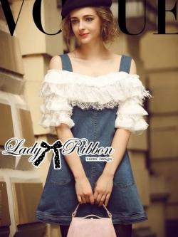Lady Ribbon Off-Shoulder Ruffle Feather Denim Dress