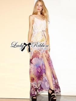 Lady Ribbon Colourful Floral Printed Long Dress