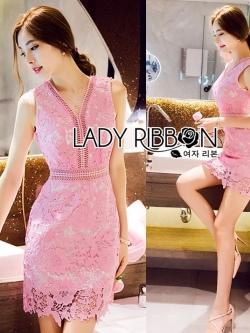 Lady Ribbon เดรสลูกไม้สีชมพู
