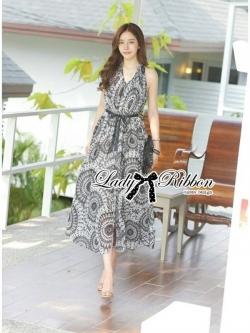 Lady Ribbon Maxi Dress เดรสยาวแขนกุด ผ้าชีฟองพิมพ์ลายผสม