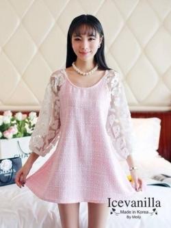 IceVanilla Hollow Sleeve Crochet Lace Princess Dress