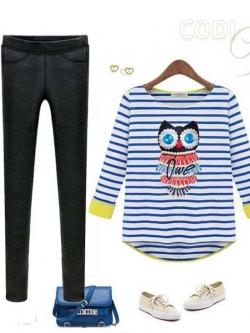 Urban Style เสื้อ พิมพ์ลายขวางสีน้ำเงิน ลายนกฮูกแต่งมุก