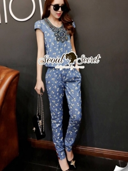 Seoul Secret Chic Blue Denim Printed Playsuit