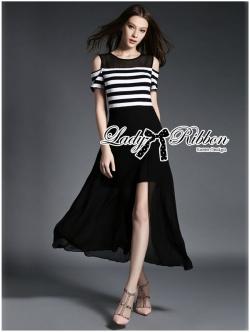 Lady Ribbon Cut-Out Shoulder Striped Maxi Dress