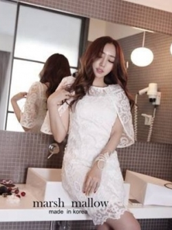 Marsh Mallow Angel Ops Lace Dress