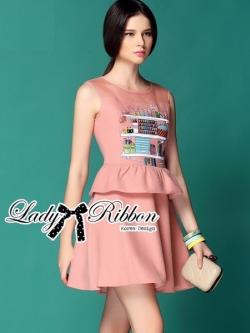 Lady Ribbon Pink Embroidered Peplum Wool Dress