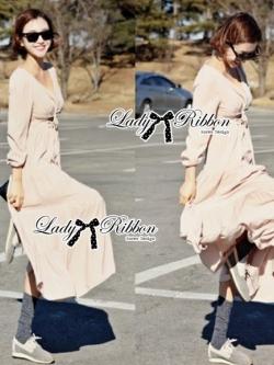 Lady Ribbon Sexy Nude Maxi Dress เดรสยาว ผูกโบว์ใต้อก