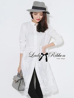 Lady Ribbon Minimal Chic Insert Lace Shirt Dress