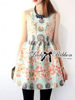 Lady Ribbon Vintage Floral Print Jacquard Mini Dress