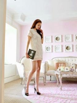 Cherry Dress เดรสสีขาว ผ้าตาข่ายถักไหมพรมลายดอกไม้