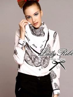 Lady Ribbon เสื้อเชิ้ตพิมพ์ลาย Chanel พร้อมผ้าพันคอ