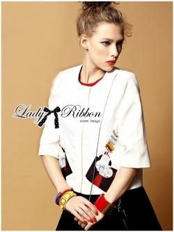 Lady Ribbon Sassy Embellished Surreal Print Blouse