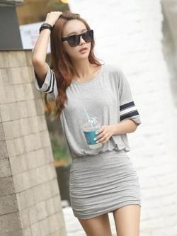 Street Style เดรสสั้นสีเทา ผ้ายืด เอวยางยืด