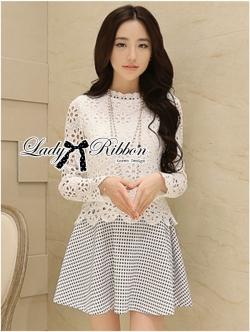 Lady Ribbon Lace Top with Jacquard Skirt Dress