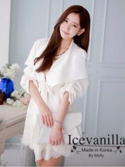 Icevanilla เสื้อคลุมสไตล์เรียบหรู แต่งชายลูกไม้