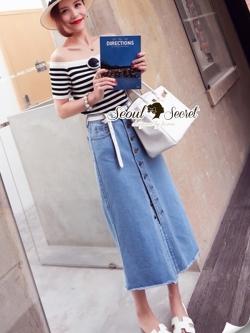 Seoul Secret Wipe Stripty Knit Denim Bottle Skirt Set