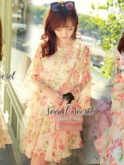Seoul Secret Chiffon Pink Sakura Dress