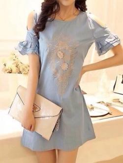 Icevanilla 3D Gold Strapless Floral Denim Dress