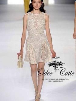 Vintage Dress มินิเดรสลูกไม้สุดหรู ผ้าลูกไม้สลับตาข่ายซีทรู ประดับเลื่อม