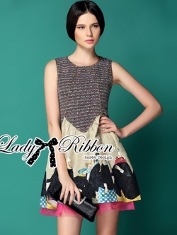 Lady Ribbon Princess Feminine Printed Jacquard Dress