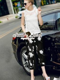 Seoul Secret Chic'n Chic Set Cami Lace with Flora Pants