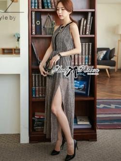 Lady Ribbon Maxi Dress เดรสยาวผ้าชีฟองผ่าข้าง ขายพร้อมเข็มขัด